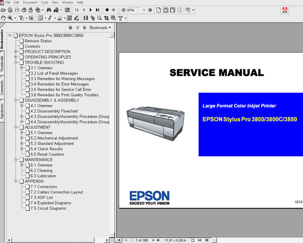 Epson Pro 3800, 3850 printers Service Manual and Parts List