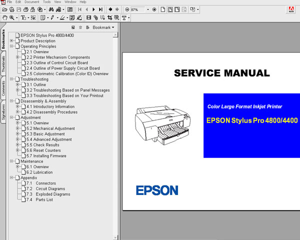 Epson Pro 4400, 4800 printers Service Manual and Parts List