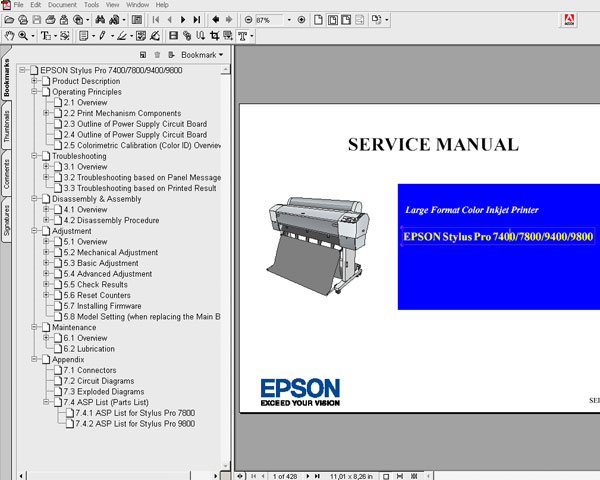 Epson Pro 7400, 7800, 9400, 9800 printers Service Manual and Parts List