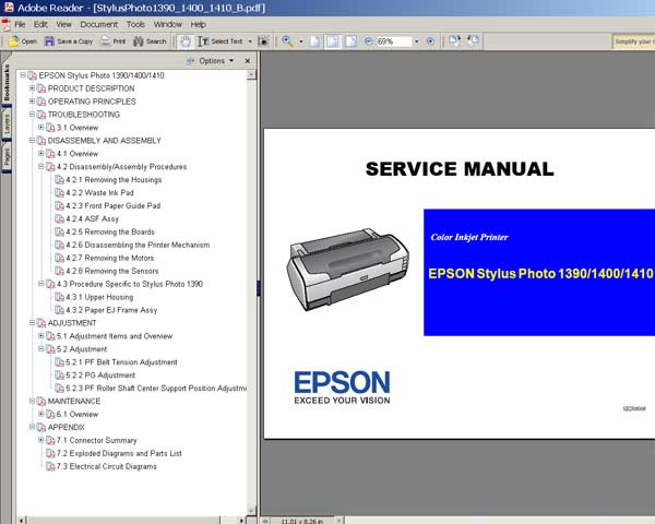 Epson R1390, R1400, R1410 printers Service Manual and Parts List