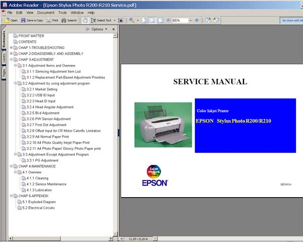 Epson R200, R210 printers Service Manual and Cirquit Diagram