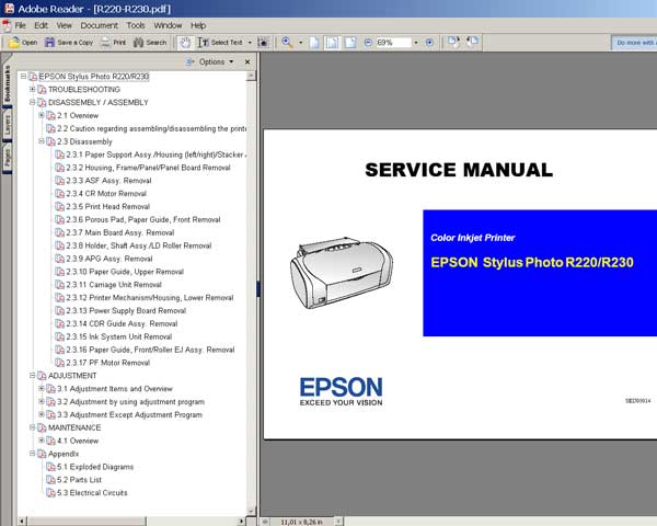 Epson R220, R230 printers Service Manual, Parts List, Exploded View and Cirquit Diagram