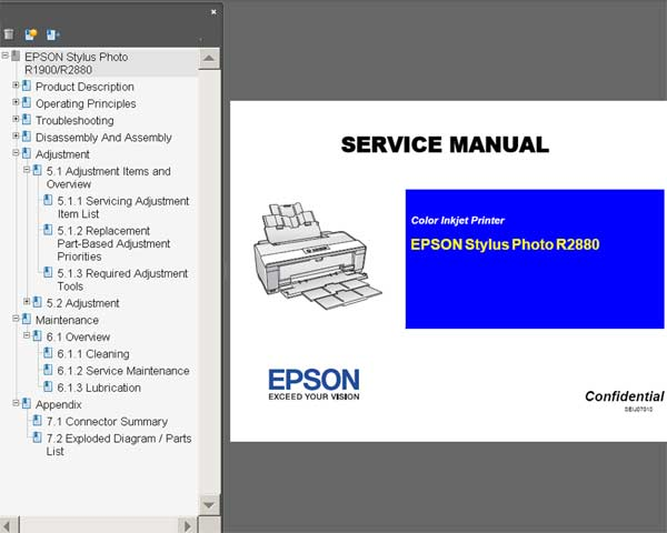Epson R2880 printer Service Manual and Parts List included!