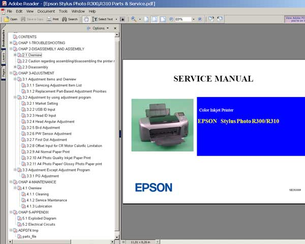 Epson R300, R310 printers Service Manual and Parts List