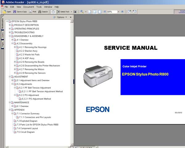 Epson R800 printer Service Manual, Exploded Diagram, Circuit Diagram and Parts List