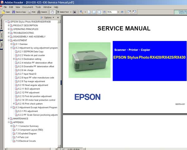 Epson RX420, RX425, RX425 Service Manual and Parts List