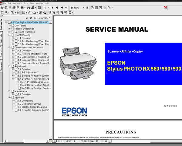 Epson RX560, RX580, RX590 printers  Service Manual and Parts List