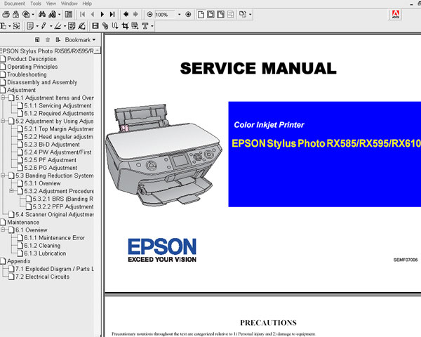 Epson RX585, RX595, RX610 printers Service Manual and Parts List