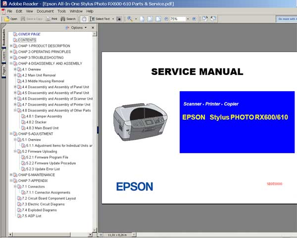 Epson RX600, RX6100 Service Manual
