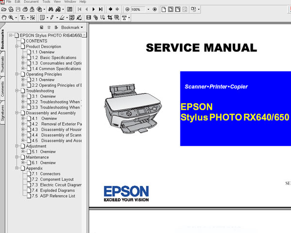 Epson RX640, RX650 printers <br>Service Manual and Parts List