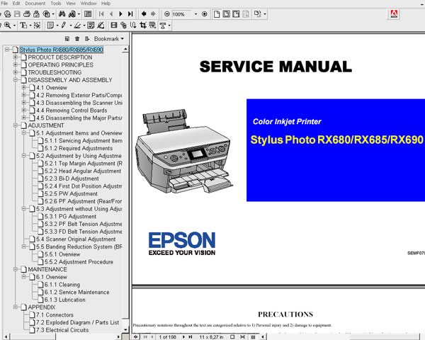 Epson RX680, RX685, RX690 printers <br>Service Manual and Parts List