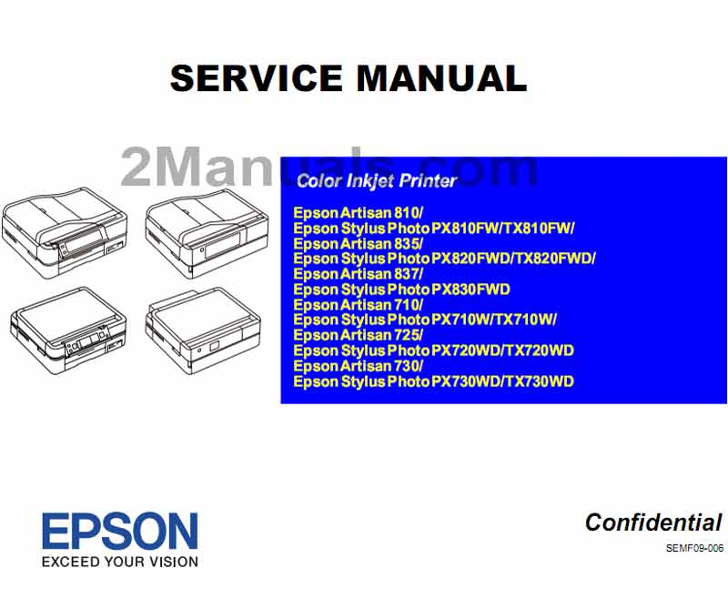 Epson PX710W, PX720WD, PX730WD, PX810FW, PX820FWD, PX830FWD,  TX710W, TX720WD,  TX730WD, TX810FW,  TX820FWD,  Artisan 710, 725, 730, 810, 835, 837 printers Service Manual  <font color=red>New!</font>