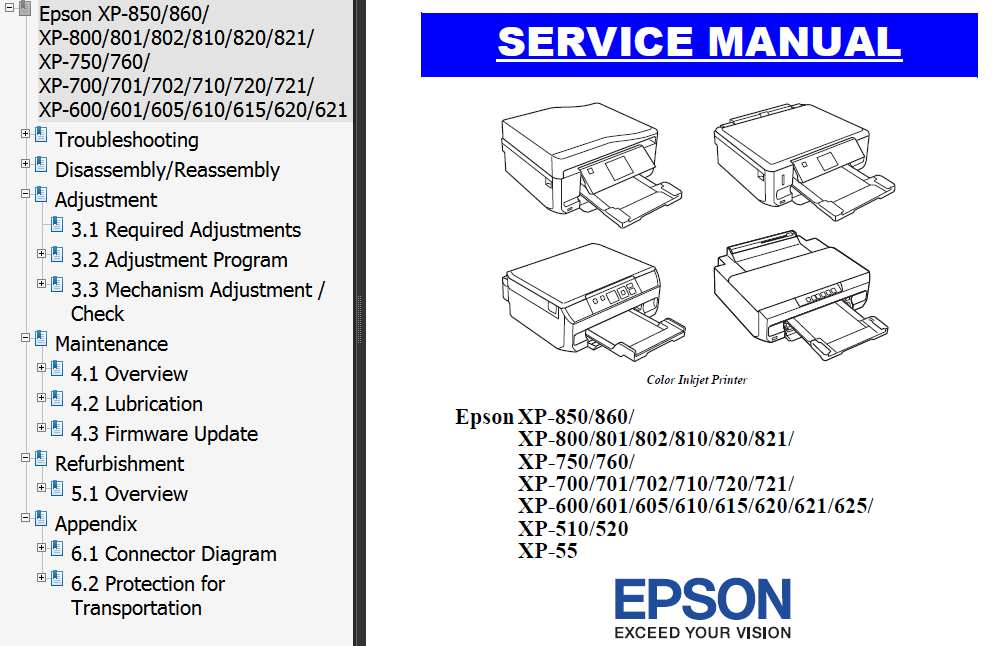 Epson <b>XP-55, XP510, XP-520, XP600, XP601/605, XP610/615, XP-620, XP-621, XP-625,  XP700, XP701, XP702, XP710, XP-720, XP-721, XP750, XP-760, XP800, XP801, XP802, XP810, XP-820/821, XP850, XP-860 </b> printers Service Manual  <font color=red>New!</font>