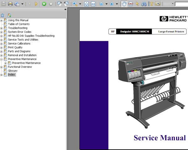 HP Designjet 1050C / 1055CM  Printers Service Manual and Parts List and Diagrams