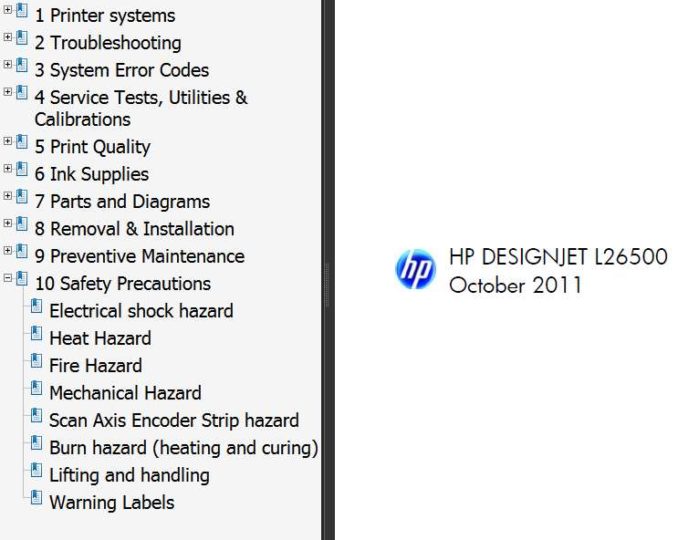 HP Designjet L26500 Printers Service Manual,  Parts List and Circuit Diagrams