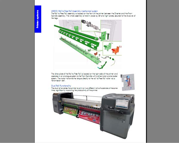 HP Designjet L65500 and Scitex LX600, LX800 Series   Printers Service Manual and Parts List and Diagrams