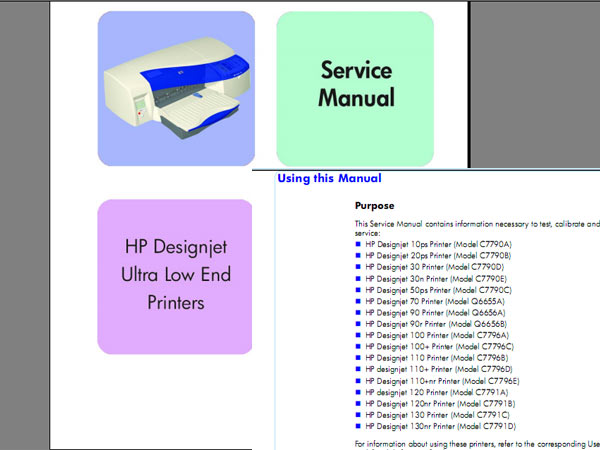HP DesignJet 10, 20, 30, 50, 70, 90, 100, 110, 120, 130 Printer Service Manual, Parts Catalog and DDiagrams