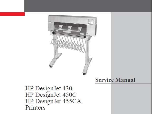 HP DesignJet 430, 450C, 455CA Plotters Service Manual, Parts and Diagrams