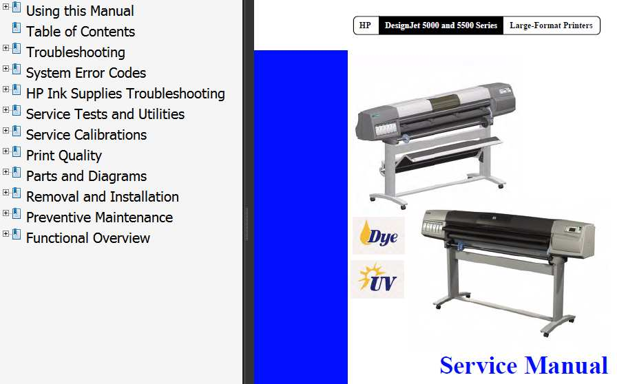 HP Designjet 5000 / 5500 Series  Printers Service Manual and Parts List and Diagrams