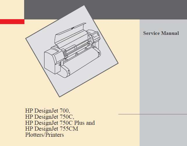 HP DesignJet 700, 750C, 750CM Plotters Service Manual, Parts and Diagrams