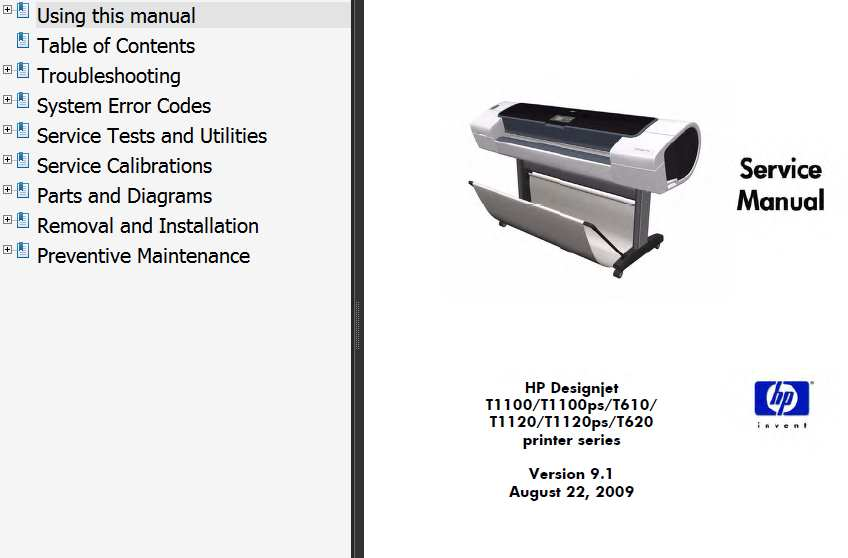 HP Designjet T610, T1100, T1100ps, T620, T1120, T1120ps  Printers Service Manual, Parts and Diagrams