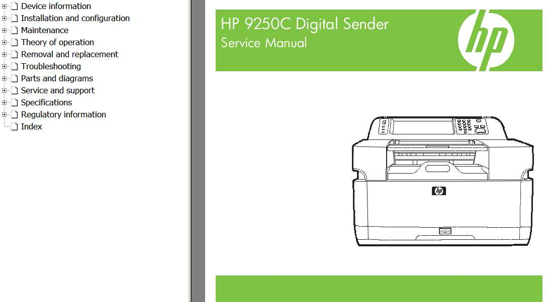 HP Digital Sender 9250C Service Manual, Parts and Diagrams