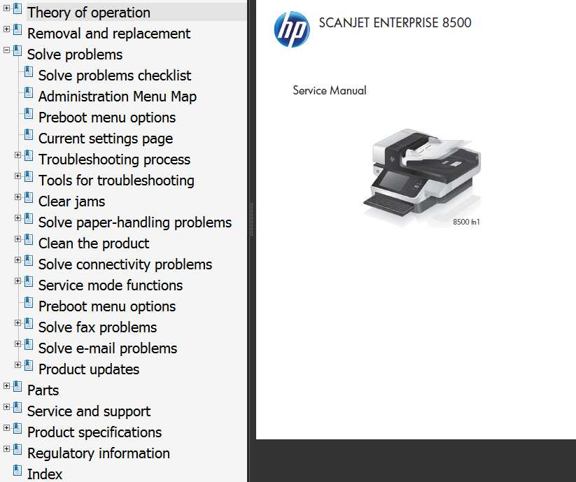 HP ScanJet Enterprise 8500 Printers Service Manual