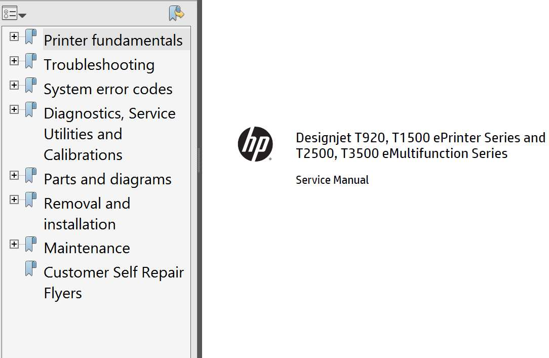 HP Designjet T920, T1500, T2500, T3500 Service Manual,  Parts List and Diagrams