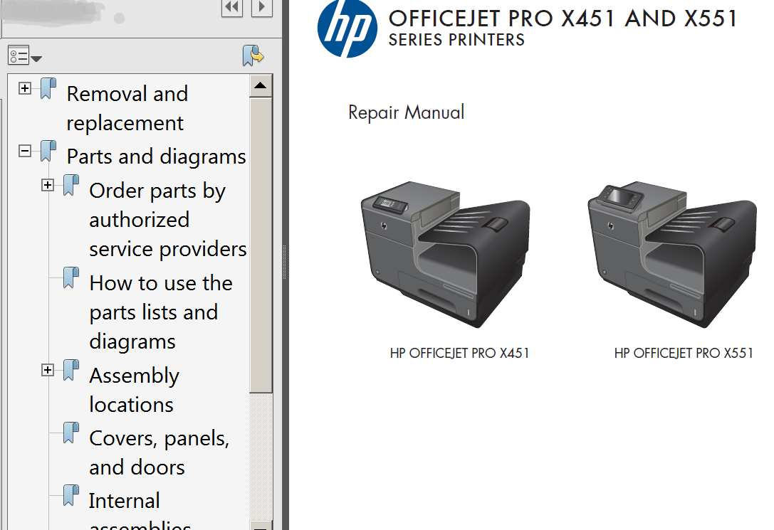 HP OfficeJet Pro X451, OfficeJet Pro X551 Repair Manual,  Parts List and Diagrams