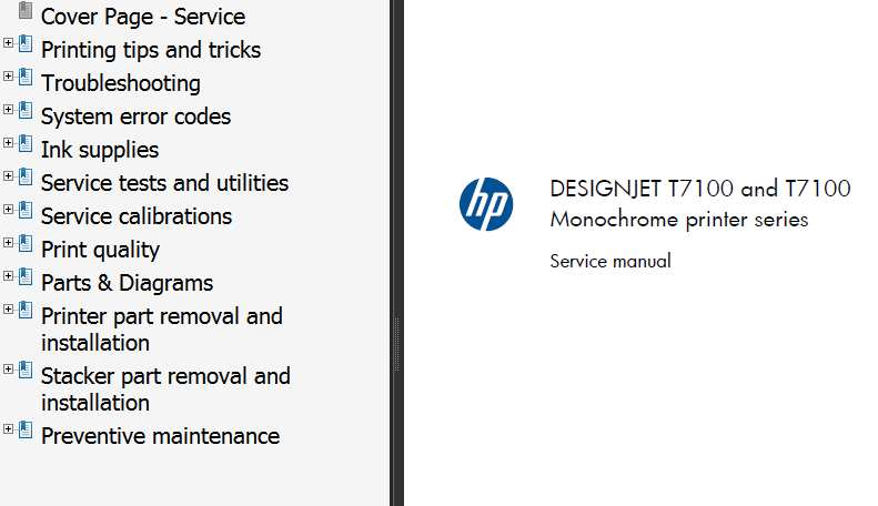 HP Designjet T7100 Printers Series Service Manual and Parts List and Diagrams