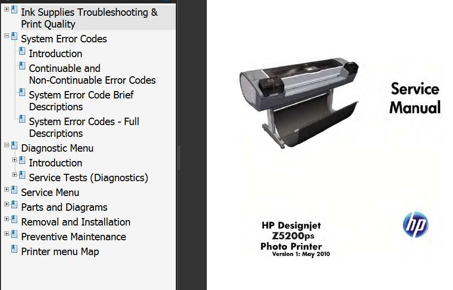 HP Designjet Z5200 Printers Series Service Manual and Parts List and Diagrams
