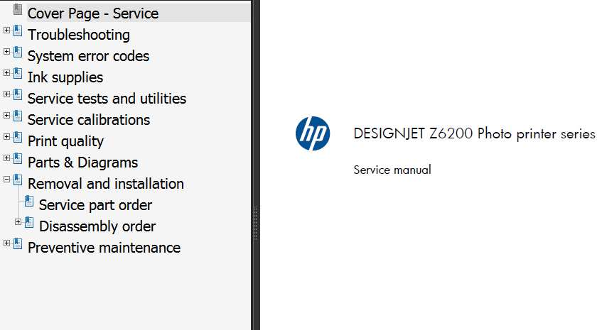 HP Designjet Z6200 Printers Series Service Manual and Parts List and Diagrams