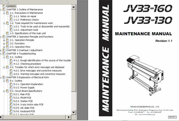 Mimaki JV33-130, JV33-160 Maintenace Manual