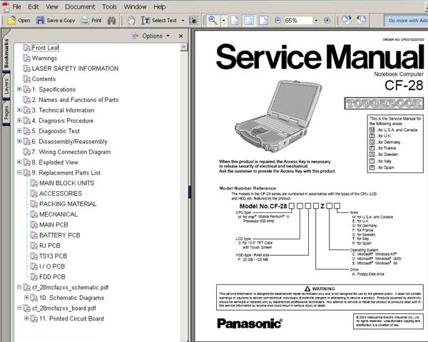 Panasonic TOUGHBOOK CF28 Notebook Computer CF-28 <br>Service Manual, Circuit Diagram and Parts Replacement List  <br> <font color=red>New!</font>