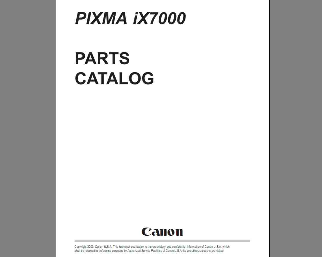 CANON iX7000 Parts Catalog