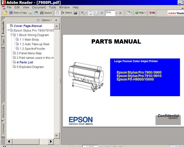 Epson Stylus Pro 7900, 7910, 9900, 9910, PX-H8000, PX-H10000 printers Parts Manual  <font color=red>New!</font>