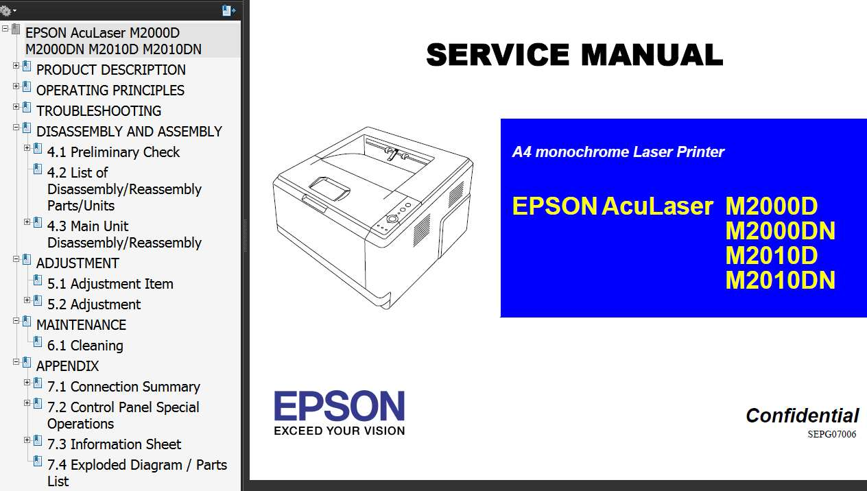 AcuLaser M2000D, M2000DN, M2010D, M2010DN Printer Service Manual, Parts List, Exploded Diagram