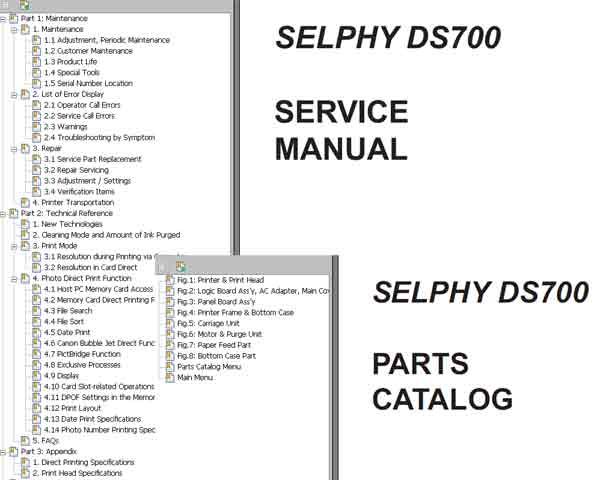 CANON SELPHY DS700 printer Service Manual and Parts Catalog