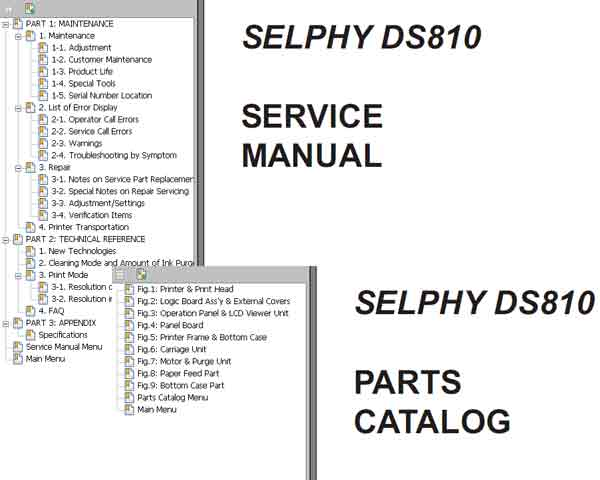 CANON SELPHY DS810 printer Service Manual and Parts Catalog
