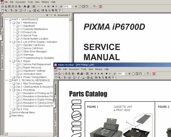 CANON iP6700 printer<br> Service Manual and Parts Catalog