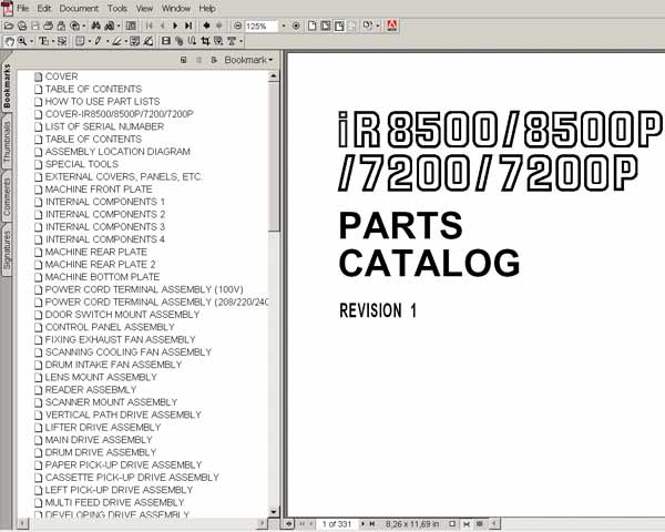 CANON iR7200, iR8500  Parts Catalog
