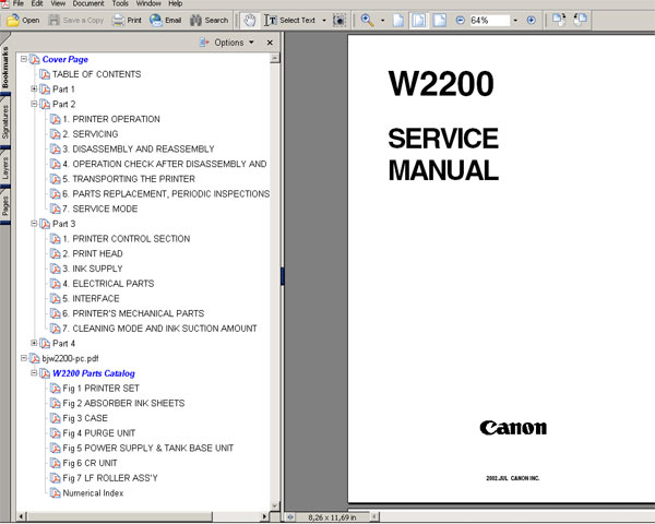 CANON BJ-W2200 printer Service Manual and Parts Catalog