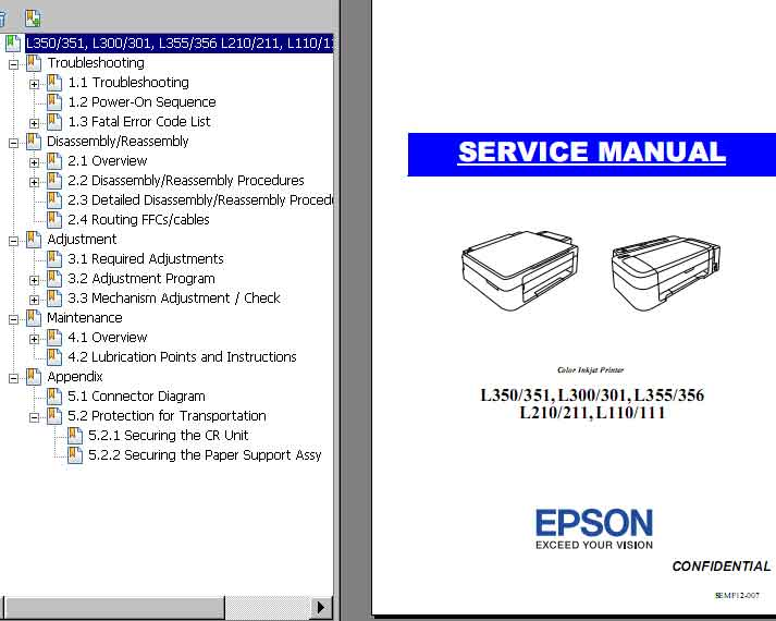 Epson <b>L110, L111, L210, L211, L300, L301, L350, L351, L355, L356</b> printers Service Manual  <font color=red>New!</font>
