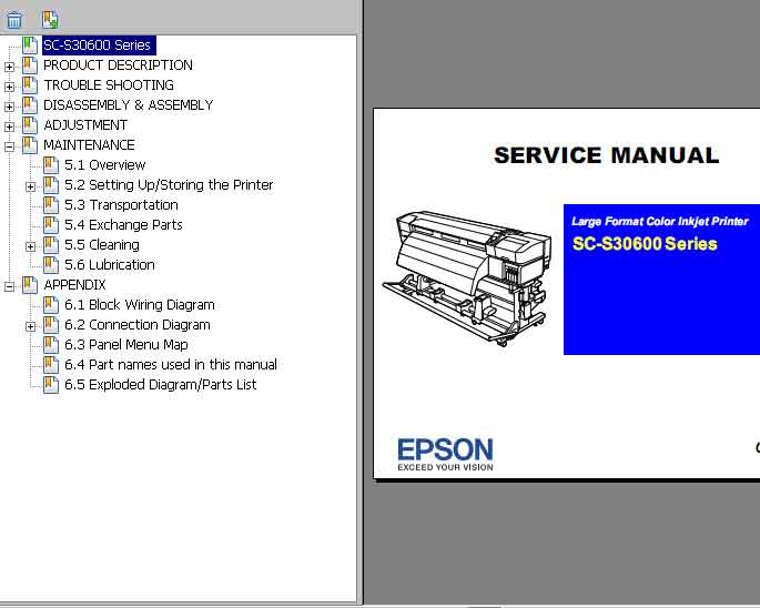 Epson <b>SC-S30600 Series </b> Large Format Color Inkjet Printer  Service Manual  <font color=red>New!</font>