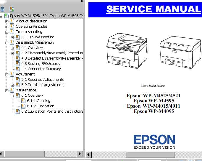 Epson <b>WP-M4011, WP-M4015, WP-M4095, WP-M4521, WP-M4525, WP-M4595 </b> printers Service Manual  <font color=red>New!</font>