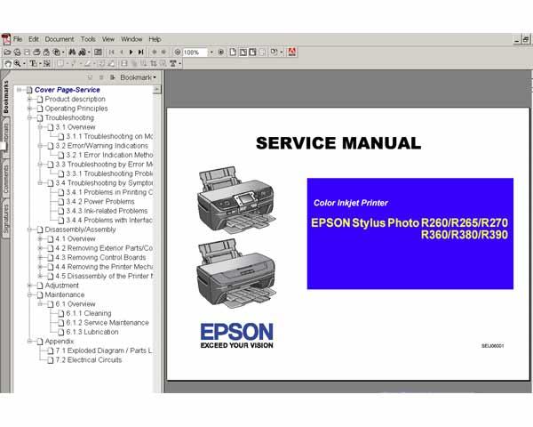 Epson R260 R265 R270 R360 R380 R390 Printers Service Manual