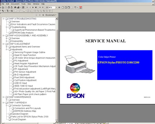 Epson Stylus Photo 2100, 2200 Printers <br> Service Manual