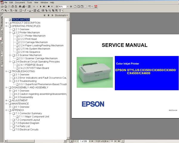 Epson CX3500, CX3600, CX3650, CX4500, CX4600 Service Manual and Parts List