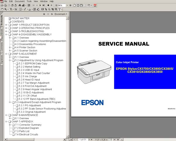 Epson CX3700, CX3800, CX3810, DX3800, DX3850 Service Manual and Parts List