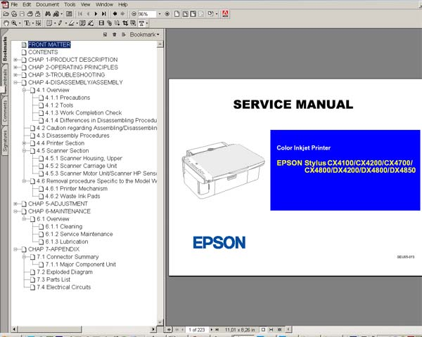 Epson CX4100, CX4200, CX4700, CX4800, DX4200, DX4800, DX4850 Service Manual and Parts List